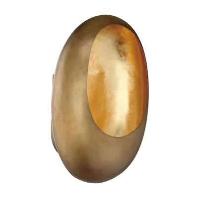 Ardor 5.125 in. Antique Brass and Gold Leaf LED Sconce
