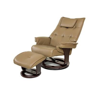 Mocha 8-Motor Massage Recliner with Lumbar Heat and Ottoman