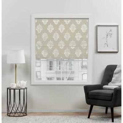 Marseilles Damask Natural Cordless Total Blackout Roman Shade 34 in. W x 64 in. L