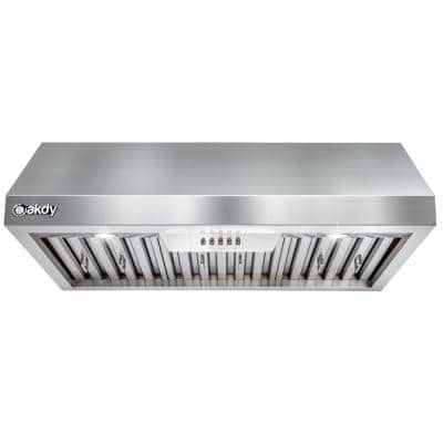30 in. 600 CFM Ducted Under Cabinet Range Hood in Stainless Steel with LEDs and Push Buttons