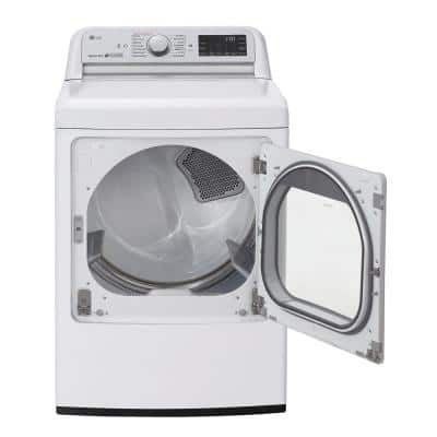 7.3 cu. ft. Ultra Large White Smart Electric Vented Dryer with EasyLoad Door, TurboSteam & Wi-Fi Enabled