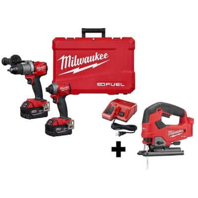 M18 FUEL 18-Volt Lithium-Ion Brushless Cordless Hammer Drill and Impact Driver Combo Kit (2-Tool) With Jigsaw
