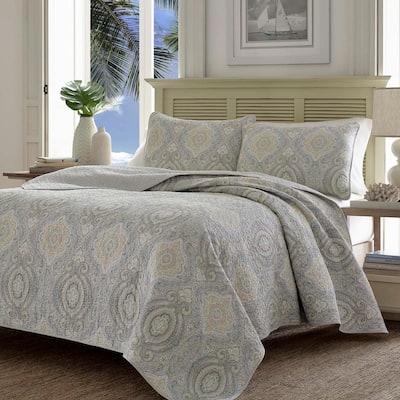 Turtle Cove 3-Piece Gray Paisley Cotton King Quilt Set