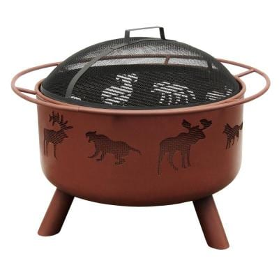 24 in. Big Sky Wildlife Fire Pit in Georgia Clay with Cooking Grate