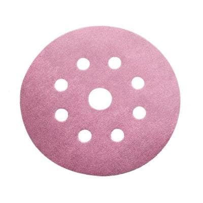 5 in. 500-Grit 9-Hole Sanding Disc with Hook 'n Loop Backing (100-Pack)