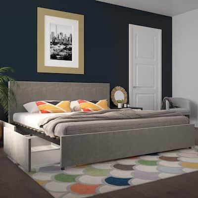 Kelly Light Gray Velvet Upholstered King Bed with Storage