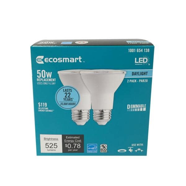Ecosmart 50 Watt Equivalent Par20 Dimmable Energy Star Led Light Bulb Daylight 2 Pack A6pr20p50wesd03 The Home Depot