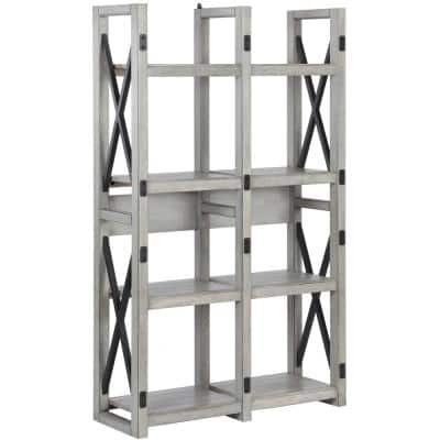 60 in. Rustic White Metal 8-shelf Etagere Bookcase with Open Back