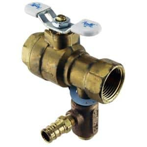 3/4 in. LF Brass Full Port Threaded Ball Valve with Integral Thermal Expansion Relief Valve 1/2 in. PEX Barb Outlet