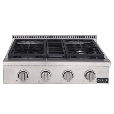 Professional 30 in. Propane Gas Range-Top with 4 Sealed Burners in Stainless Steel with Classic Silver Knobs