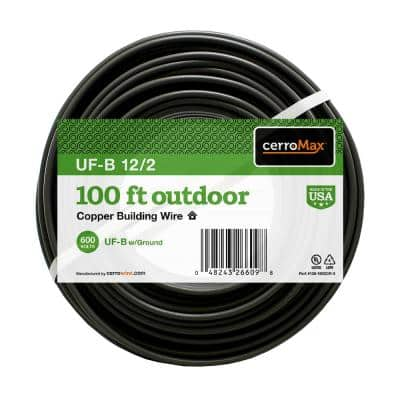100 ft. 12/2 Gray Solid CerroMax UF-B Cable with Ground Wire