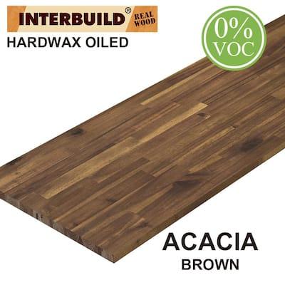 Acacia 8 ft. L x 40 in. D x 1.5 in. T Butcher Block Island Countertop in Brown Oil Stain