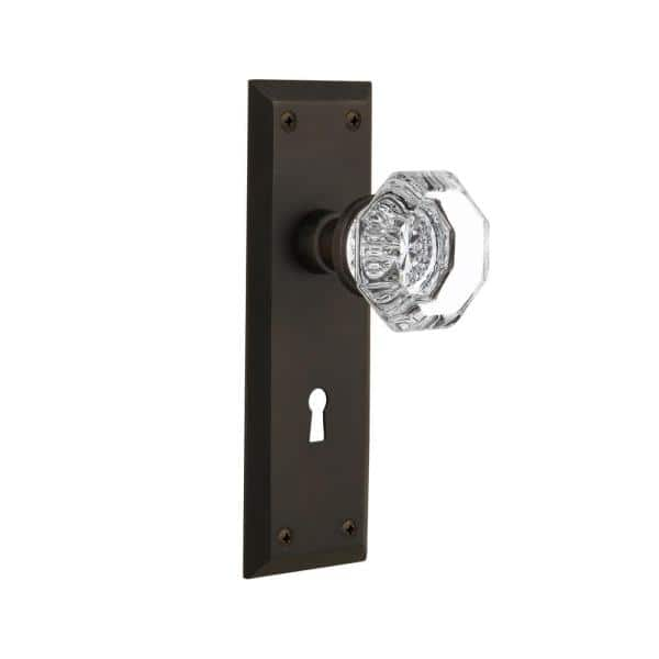 Nostalgic Warehouse New York Plate With Keyhole Double Dummy Waldorf Door Knob In Oil Rubbed Bronze 704621 The Home Depot