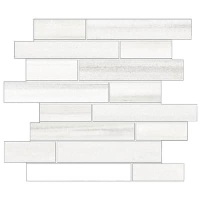 Milano Lasa White 12 in. x 14 in. x 9 mm Porcelain Random Strip Mesh-Mounted Mosaic Tile (10 sq. ft. / case)