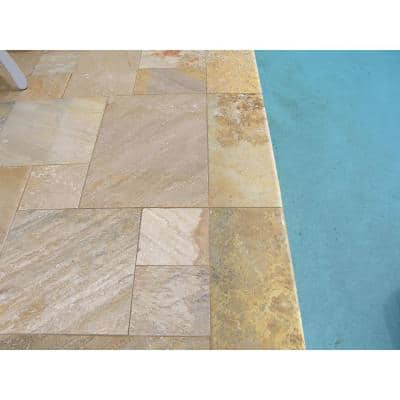 Riviera 16 in. x 24 in. Gold Travertine Pool Coping (10 Pieces / 26.7 Sq. Ft. / Pallet)