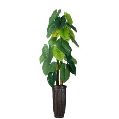 69 in. Real Touch Taro Plant in Fiberstone Planter