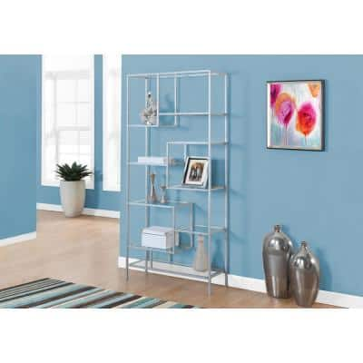 72 in. Silver Faux Wood 9-shelf Standard Bookcase with Open Back