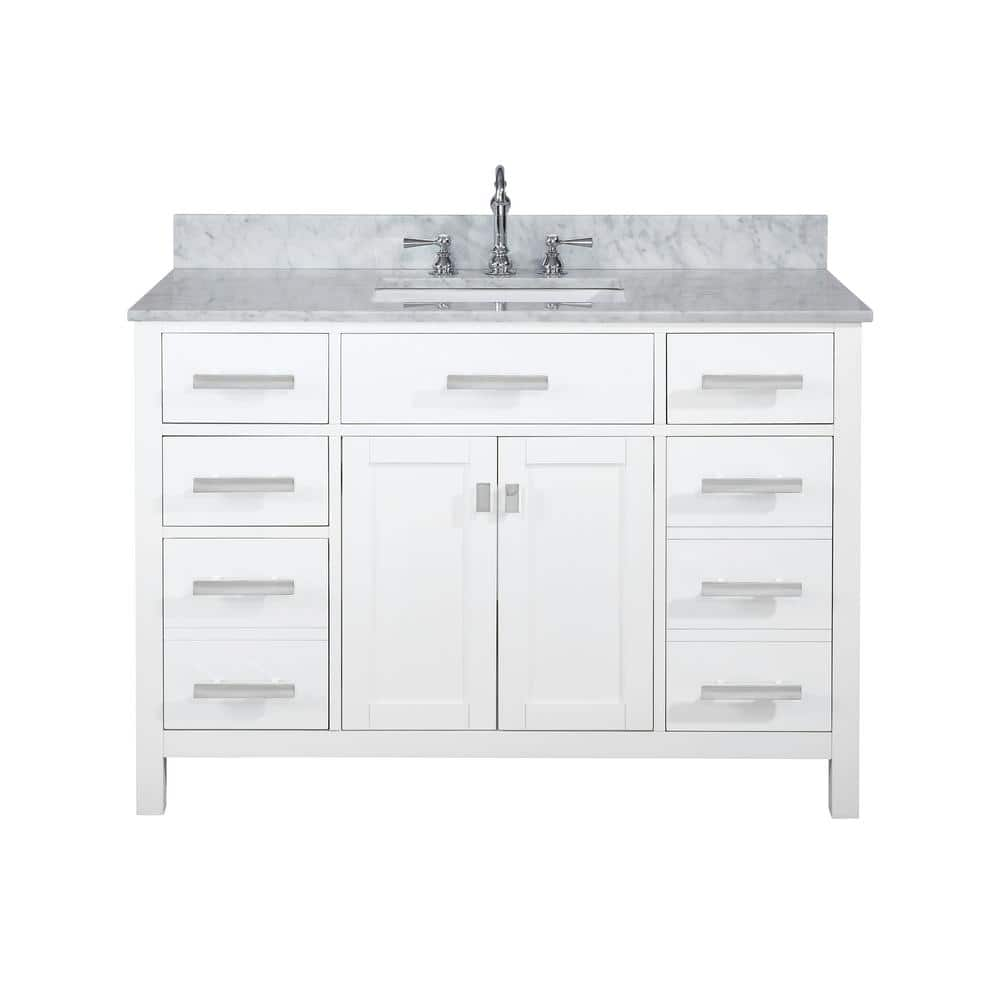 Design Element Valentino 48 In W X 22 In D Bath Vanity In White With Carrara Marble Vanity Top In White With White Basin V01 48 Wt The Home Depot