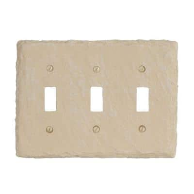 Faux Slate 3 Gang Toggle Resin Wall Plate - Almond