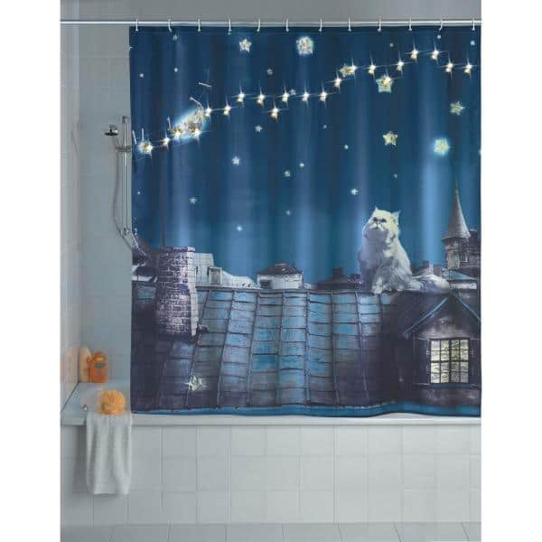 Wenko 79 In Led Shower Curtain Moon Cat 22497218 The Home Depot