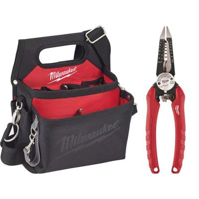 15-Pocket Electricians Tool Holder with Quick Adjust Belt and 6-in-1 Wire Stripper Pliers