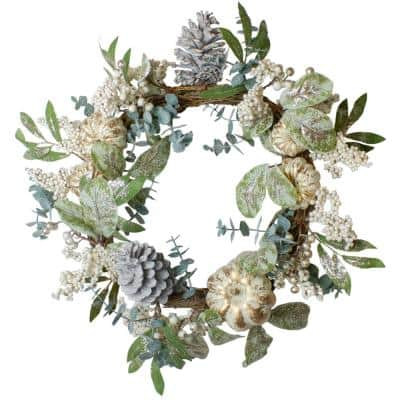 18 in. Unlit Neutral Colored Pumpkin and Pine Cones Artificial Christmas Fall Harvest Wreath