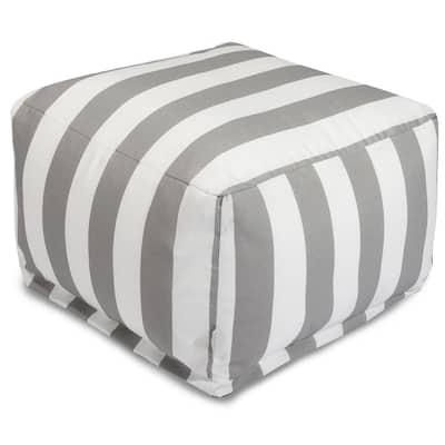 Gray Vertical Stripe Outdoor Ottoman Cushion