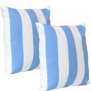 17 in. x 17 in. Beach-Bound Blue Stripe Outdoor Decorative Throw Pillows (Set of 2)