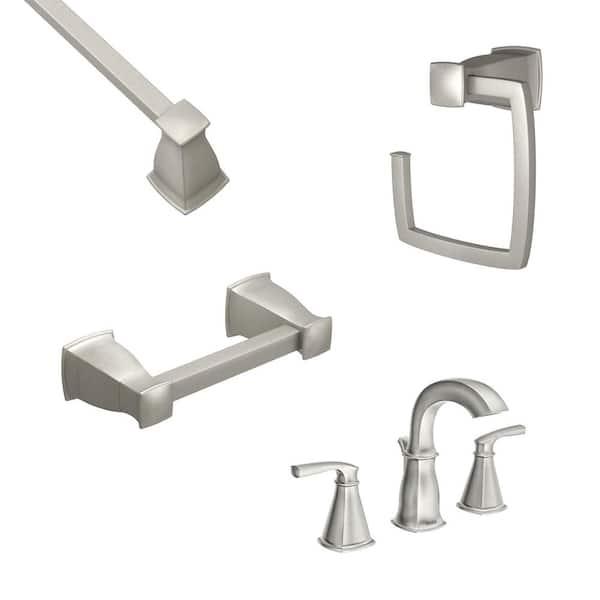 Moen Hensley 8 In Widespread 2 Handle, 3 Piece Bathroom Faucet