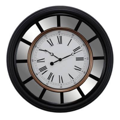 Milan Oversized 22 in. Wall Clock with Mirror Accent 2-1/2 in. D - Black with Brushed Copper Bezel