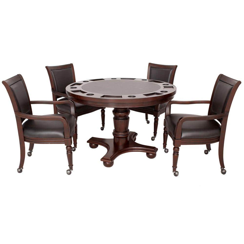 Hathaway Bridgeport 2-in-1 Poker Game Table Set in Walnut Finish