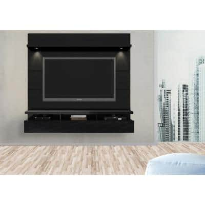 Cabrini 86 in. Black Gloss and Black Matte Entertainment Center with 3 Drawer Fits TVs Up to 70 in. with Wall Panel