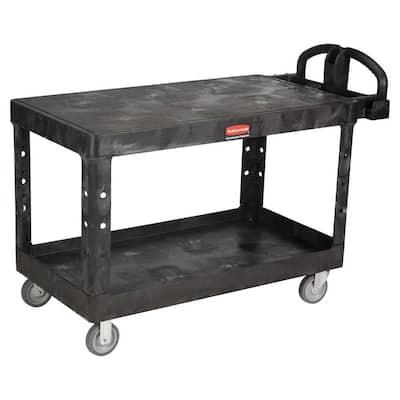 Heavy Duty Black 2-Shelf Utility Cart with Flat Shelf in Large