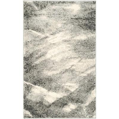 Retro Grey/Ivory 3 ft. x 4 ft. Area Rug