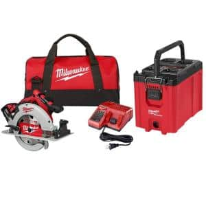 M18 18-Volt Lithium-Ion Brushless Cordless 7-1/4 in. Circular Saw Kit and PACKOUT 10 in. Compact Tool Box