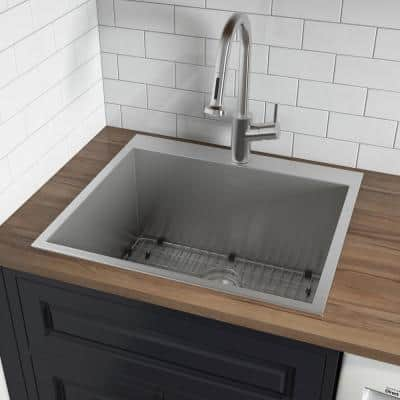 22 in. x 22 in. x 12 in. Deep Single Bowl Top Mount Stainless Steel Utility Sink