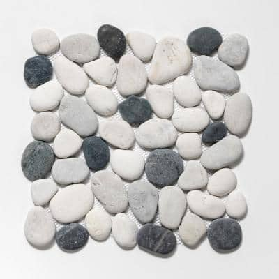 Classic Pebble Tile Grey/White/Black 11-1/2 in. x 11-1/2 in. x 12.7mm Mesh-Mounted Mosaic Tile (10.12 sq. ft. / case)