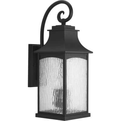 Maison Collection 3-Light Textured Black Water Seeded Glass Farmhouse Outdoor Large Wall Lantern Light