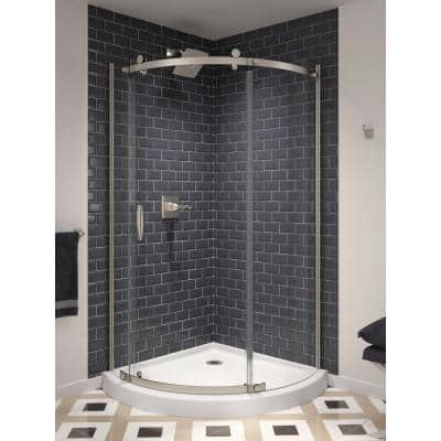 Classic 38 in. W x 72 in. H Round Sliding Frameless Corner Shower Enclosure in Stainless Steel
