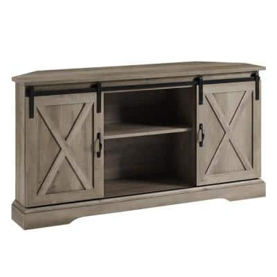 52 in. Grey Wash Wood Farmhouse Corner TV Stand with 2-Sliding Barn Doors fits TVs up to 58 in.
