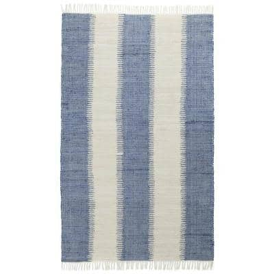 Blue Jagged Chindi 8 ft. x 10 ft. Area Rug