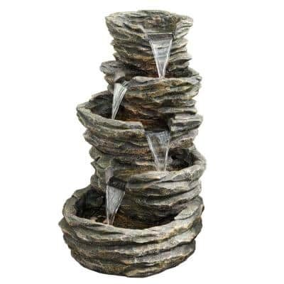 39 in. Tall Indoor/Outdoor 5 Tier Rock Fountain with Replaceable LED Lights
