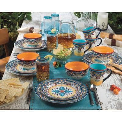 Zanzibar 20-Piece Patterned Multicolor/Spanish Floral Design Ceramic (Service for 4)