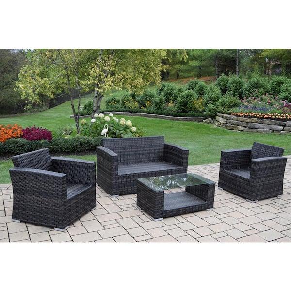 Borneo Black 4 Piece Wicker Patio Deep Seating Set With Oatmeal Cushions Hd93015 4 8csbg Bk The Home Depot