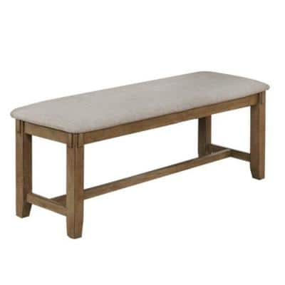 Gray and Brown Fabric Upholstered Wooden Frame Bench with Chamfered Legs