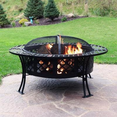 Diamond Weave 40 in. x 20 in. Round Steel Wood Burning Fire Pit in Black with Spark Screen