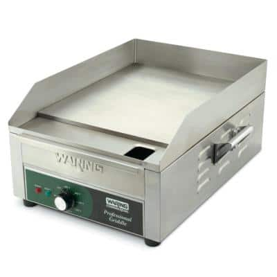 Silver Countertop Electric Griddle - 120-Volt, 1800-Watt (14 in. x 16 in. Cooking Surface)