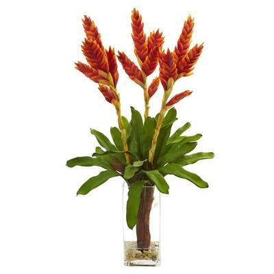 Indoor Tropical Bromeliad Artificial Arrangement in Glass Vase