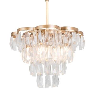 4-Light Gold Modern Empire Chandelier Tiered Crystal Pendant Light