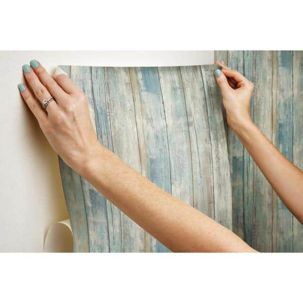 Blue Distressed Wood Peel and Stick Wall Decor